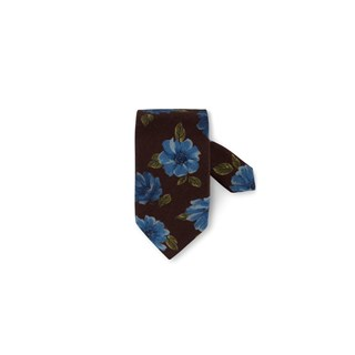 Brown Floral Wool Silk Tie