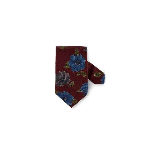 Burgundy Floral Wool Silk Tie