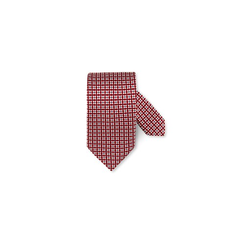 Red Graphic Patterned Silk Tie