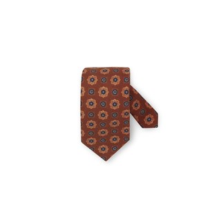 Orange Medallion Wool Tie