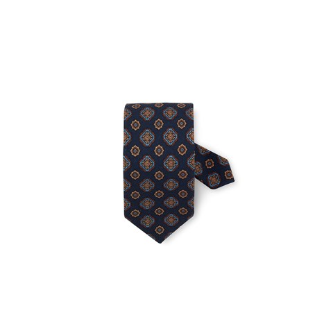 Navy Patterned Wool Tie