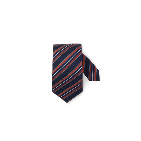 Navy Striped Wool Tie