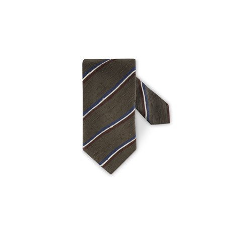 Striped Tie Raw Silk
