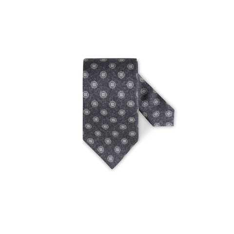 Medallion Silk Tie Grey