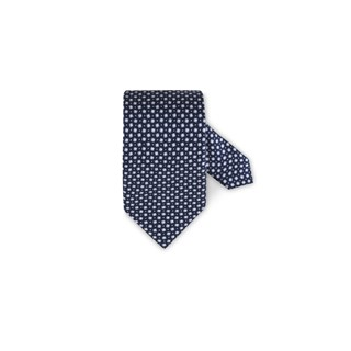 Patterned Silk Tie Navy