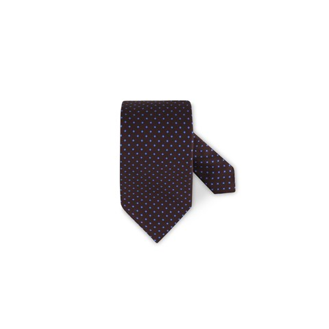 Patterned Silk Tie Brown