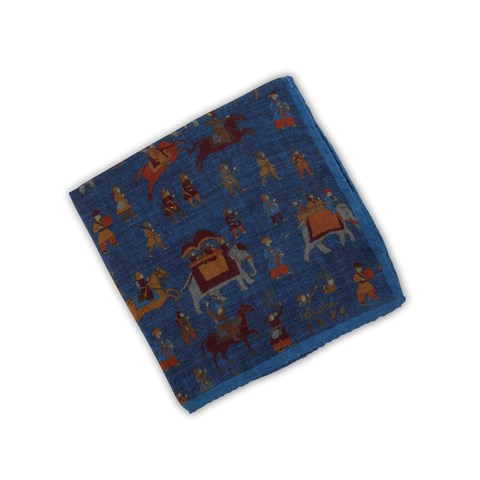 Blue Motif Hankie In Wool
