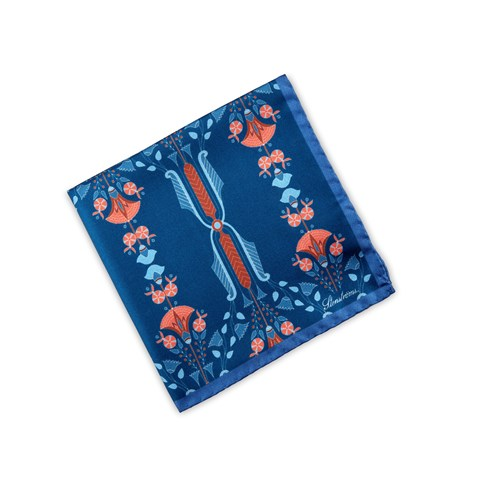 Blue Abstract Patterned Silk Hankie