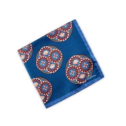 Blue Kaleidoscope Pattern Silk Hankie