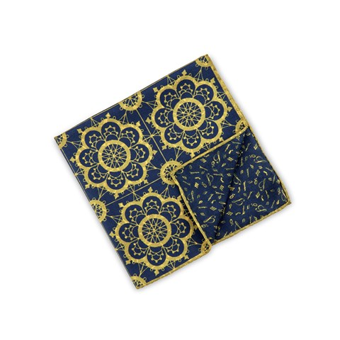 Navy/Yellow Geometric Hankie, Reversible