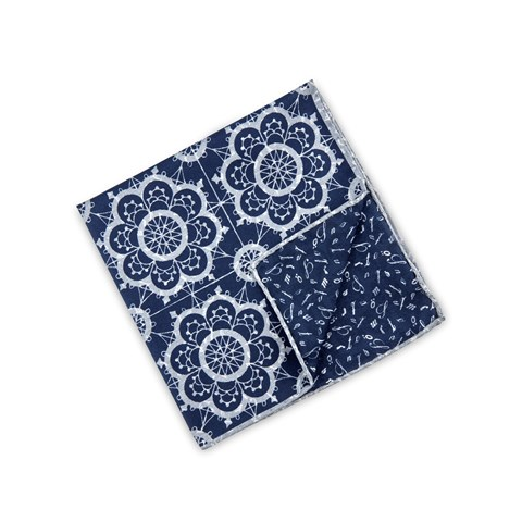 Navy/White Geometric Hankie, Reversible