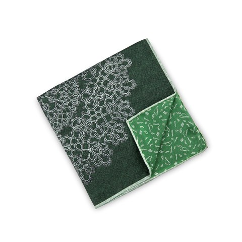 Green Abstract Motif Hankie, Reversible