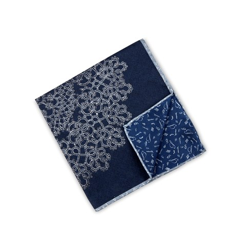 Navy Abstract Motif Hankie, Reversible