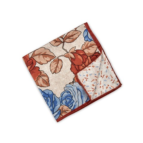 Beige Floral Patterned Silk Hankie, Reversible