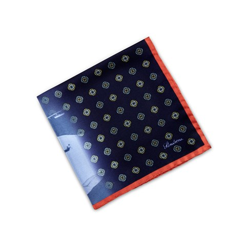 Navy Geometric Patterned Silk Hankie