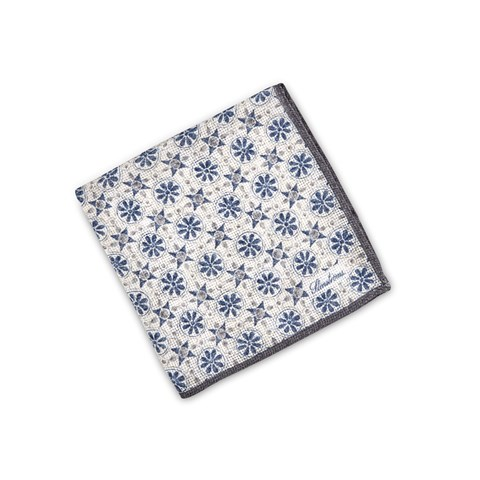 Navy/Grey Geometric Patterned Hankie