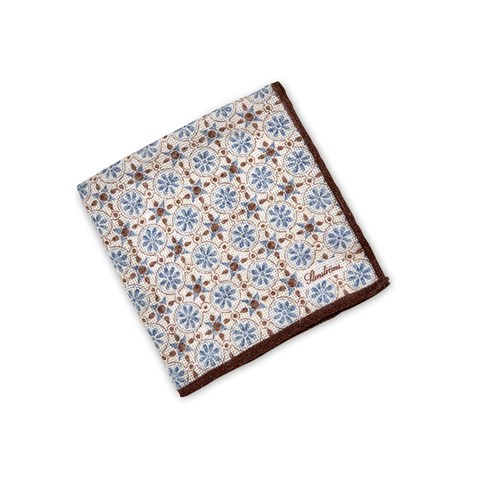Brown/Blue Geometric Patterned Hankie