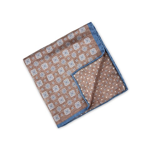 Brown Medallion Silk Hankie, Reversible