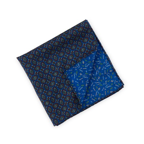 Blue/Red Patterned Wool Silk Hankie, Reversible
