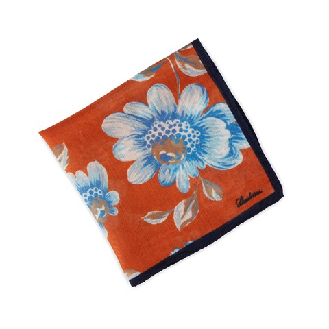 Orange Floral Wool/Silk Hankie