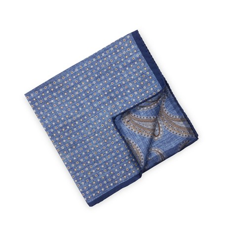 Blue Dotted Silk Hankie