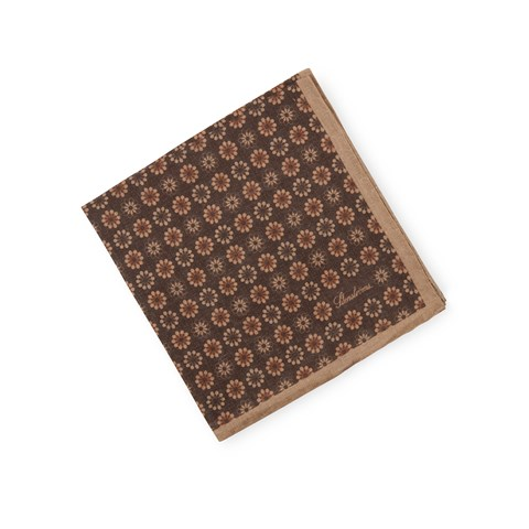Brown Floral Linen Hankie