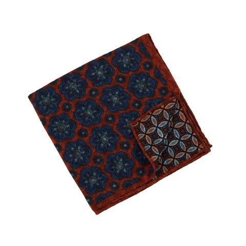 Medallion Patterned Wool Hankie, Reversible