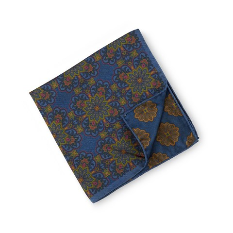 Blue Patterned Silk Hankie, Reversible