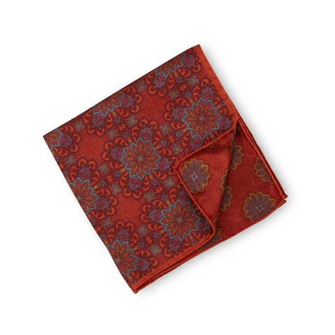 Orange Patterned Silk Hankie, Reversible