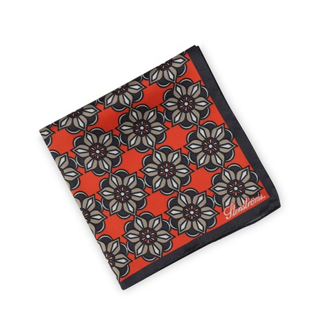 Silk Hankie Geometric Medallion Red