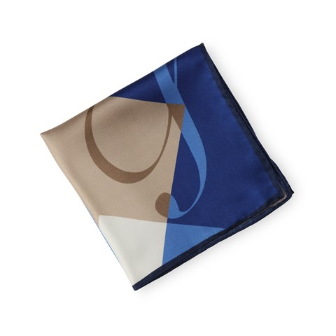 Geometric Silk Hankie Blue