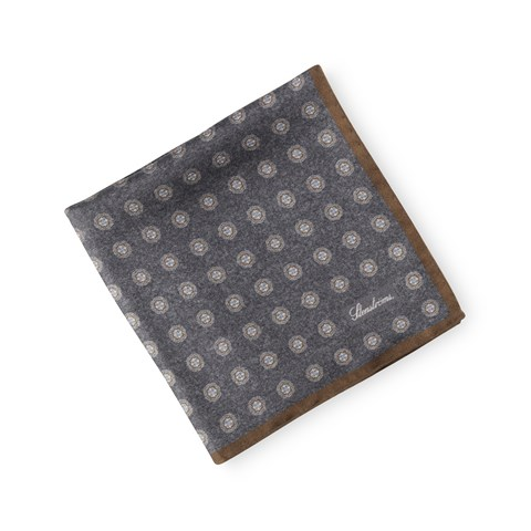Silk Hankie Medallion Brown