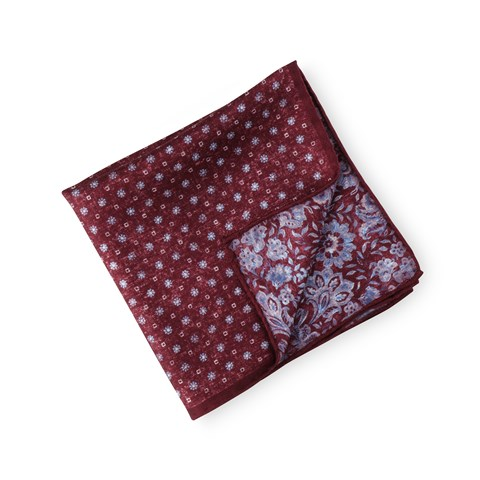 Reversible Silk Hankie Red