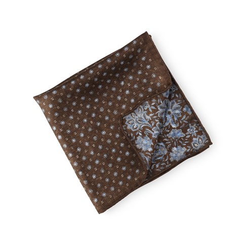 Reversible Silk Hankie Brown