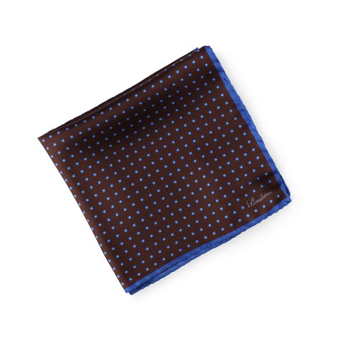 Patterned Silk Hankie Brown
