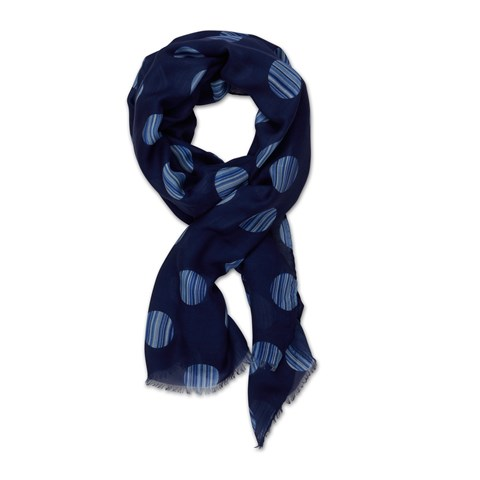 Navy Scarf With Dots
