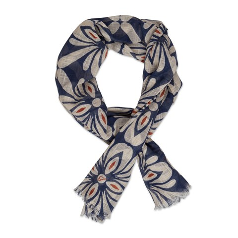Navy Floral Cotton Scarf