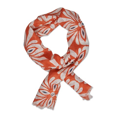 Orange Floral Cotton Scarf