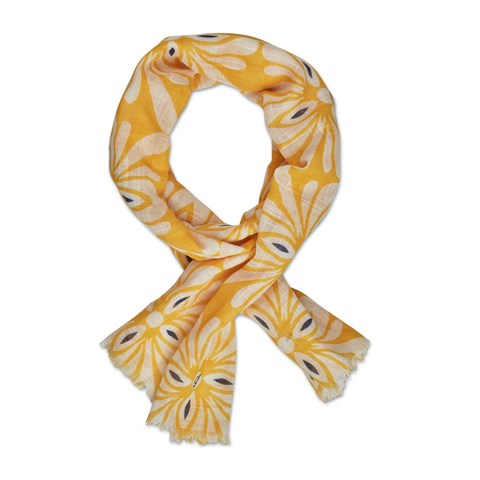 Yellow Floral Cotton Scarf