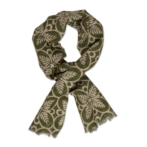 Green Geometric Patterned Scarf