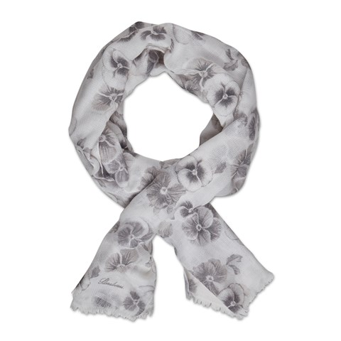 White/Grey Flower Patterned Scarf
