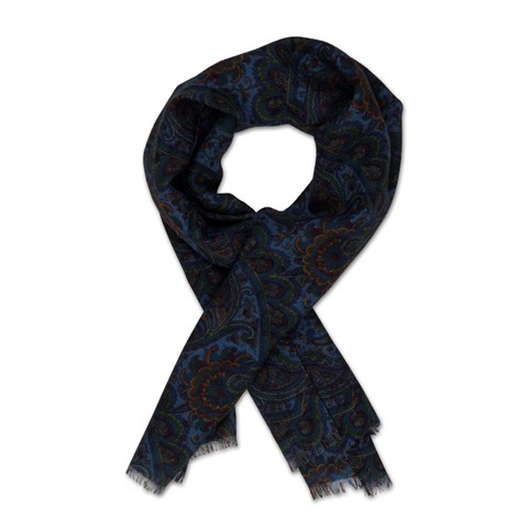 Blue Paisley Wool Scarf