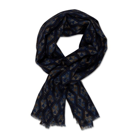 Navy Graphic Wool Scarf