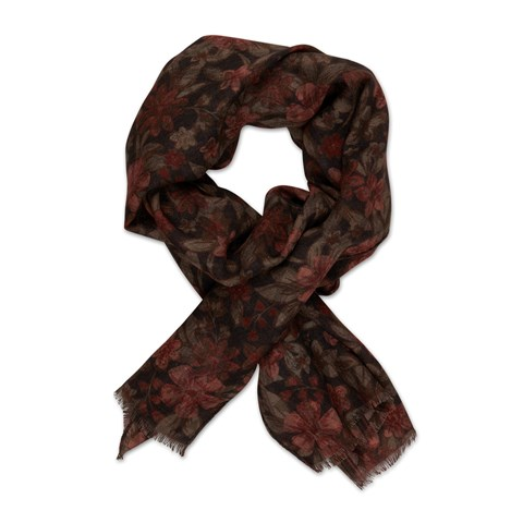 Brown Graphic Wool Scarf