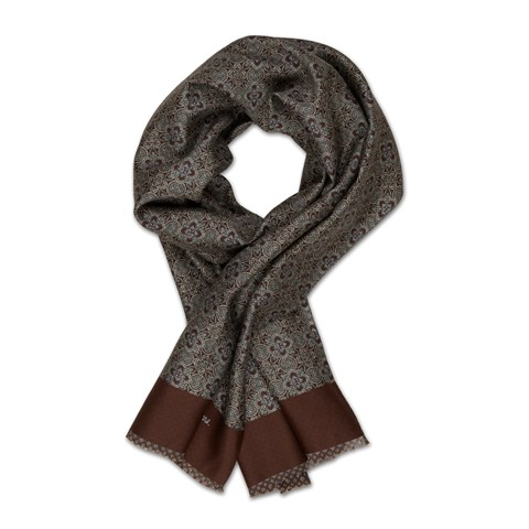 Brown Medallion Silk Scarf