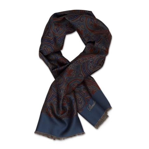 Paisley / Medallion Reversible Silk Scarf
