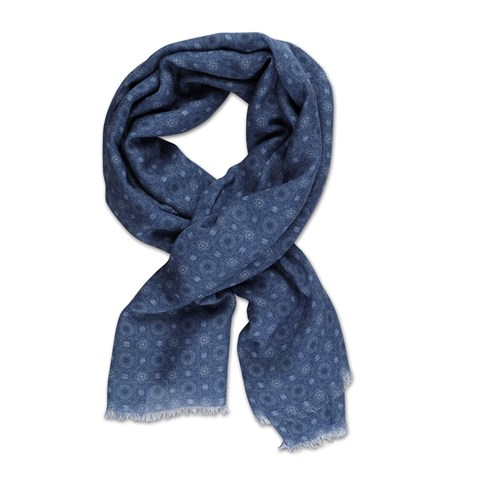 Blue Medallion Scarf Modal Cashmere
