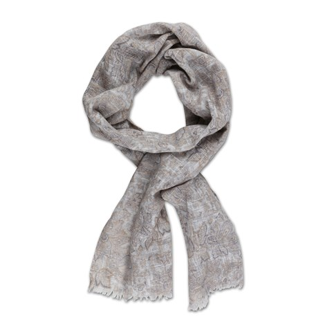 Floral Cotton Scarf Beige