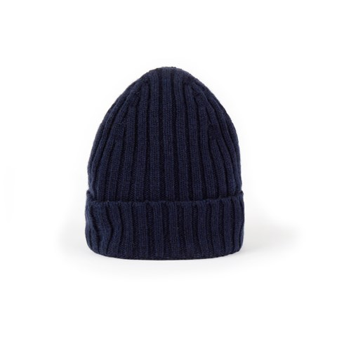 Navy Rib-Knit Cashmere Hat