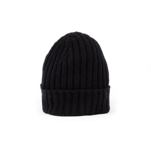 Black Rib-Knit Cashmere Hat